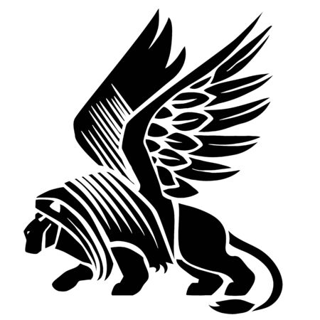 sphinx logo in black, tattoo, isolated object on a white background, vector illustration,