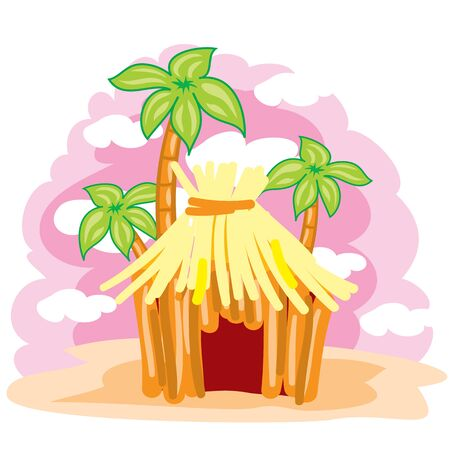 hut made of straw on a background of palm trees and a pink sky, landscape, exotic, relaxation, downshifting, vector illustration Illustration