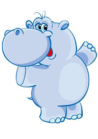 cute blue hippo character is having fun dancing, isolated object on white background, vector illustration Иллюстрация