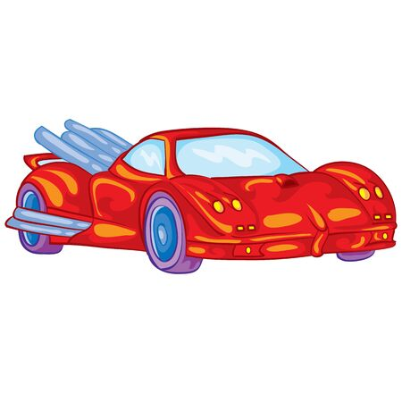 red racing car with driver inside, toy, isolated object on a white background, vector illustration