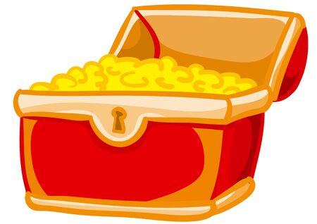 red chest open and with gold coins lying on a slide, isolated object on a white background, vector illustration