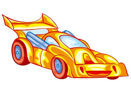 yellow racing car with driver inside, toy, isolated object on a white background, vector illustration Illustration
