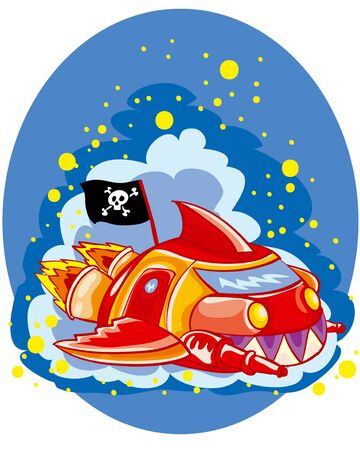 illustration for cartoon spaceship in space with a pirate flag, vector illustration