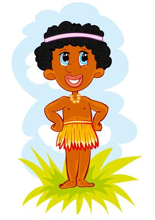 Vector flat african or papuan boy. Cute tropical jungle, exotic summer character. Funny black baby in loincloth, isolated object on white background