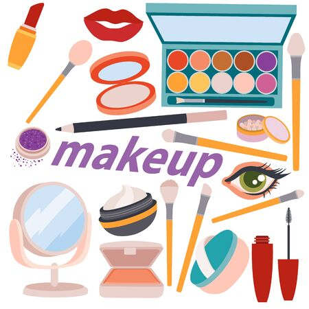 set of cosmetics and things for beauty treatments, crust, care, female dream, isolated object on a white background, vector illustration,