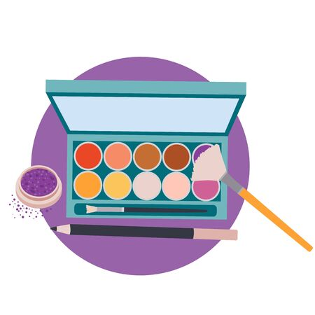 set of eyeliner and pigment eye shadow makeup, isolated object on white background, vector illustration,