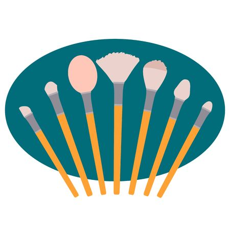 set of makeup brushes, isolated object on a white background, vector illustration,