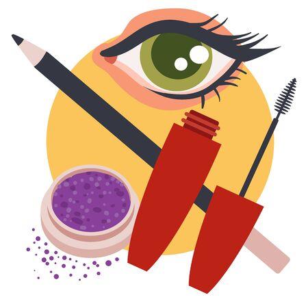 set of mascara cosmetics, eyeliner, pigment and beautiful eye, isolated object on a white background, vector illustration,