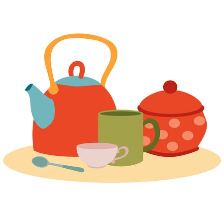 set of kitchen utensils from a teapot, mugs, sugar bowls and spoons, isolated object on a white background, vector illustration, eps Vectores