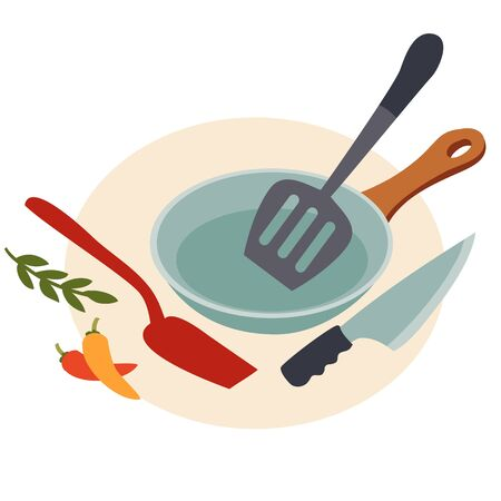 set of kitchen utensils for cooking food from a pan, shovels and knife, isolated object on a white background, vector illustration, eps Vectores