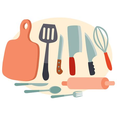 set of kitchen utensils for cooking food cutting board, shoulder blades, rolling pin, whisk and knives, isolated object on a white background, vector illustration, eps