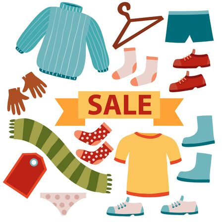 set of clothes, sale, outerwear and underwear, underwear, isolated object on a white background, vector illustration, eps