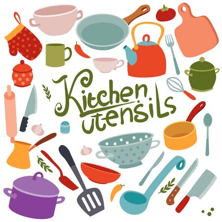collection of kitchen utensils for cooking, icons, colorful dishes, set, isolated object on a white background, vector illustration, eps