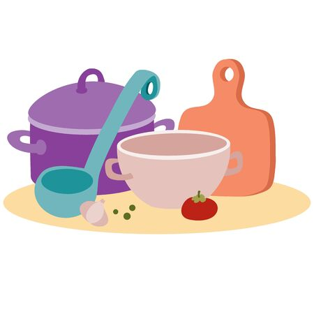set of kitchen utensils for cooking food from a soup ladle pan and cutting board, isolated object on a white background, vector illustration, eps Vectores