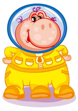 character cute pink alien in a yellow spacesuit who friendly waves his hands, isolated object on a white background, vector illustration,, eps