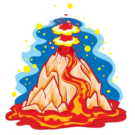 cartoon illustration, lava spewing volcano, isolated object on white background, vector illustration, eps