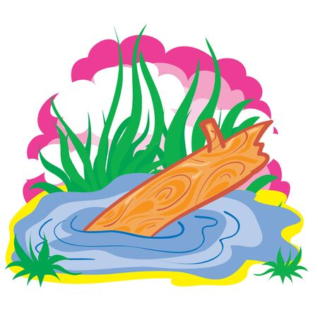 illustration for the cartoon, landscape swamp with a log on a pink sky background, isolated object on a white background, vector illustration, eps