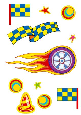 illustration for the cartoon, color set for the race, flags, wheel, isolated object on a white background, vector illustration, eps