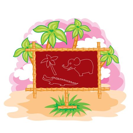 illustration for the cartoon, on the background of palm trees and pink sky there is a brown school board on which a crocodile elephant and palm are drawn with chalk in outline, isolated object on a white background, vector illustration, eps