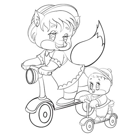 sketch of the characters of a fox and a chicken who ride together on scooters, coloring, isolated object on a white background, vector illustration, Ilustração