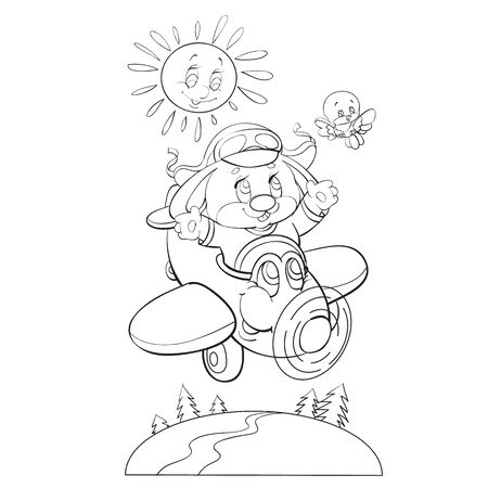 sketch of a hare character who flies on a cartoon airplane and a bird flutters beside them and the sun smiles, coloring, isolated object on a white background, vector illustration, Vectores