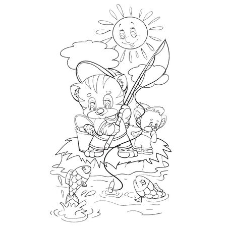 sketch of the character of a kitten who, together with a mouse, stands on the shore and fishes for fishing, coloring, isolated object on a white background, vector illustration,