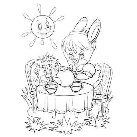 sketch of a bunny character drinking tea with a hedgehog, tea party, coloring, isolated object on a white background, vector illustration, Vectores