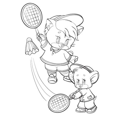 sketch of a kitten character together with a mouse playing banbinton with rackets and a shuttlecock, isolated object on a white background, vector illustration,