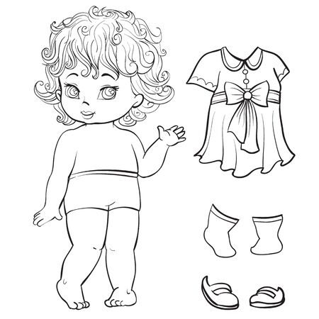 sketch of a doll character and clothes for her, coloring, isolated object on a white background, vector illustration,