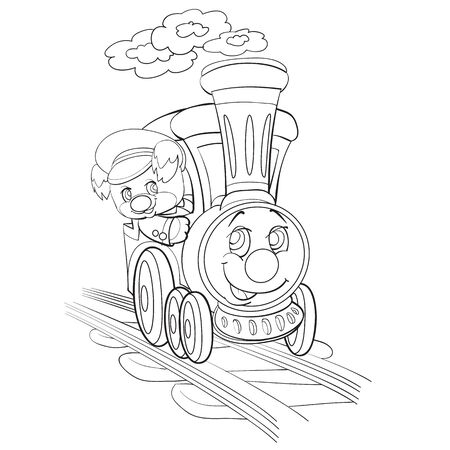 sketch of a dog character riding a train with big eyes, coloring, isolated object on a white background, vector illustration,