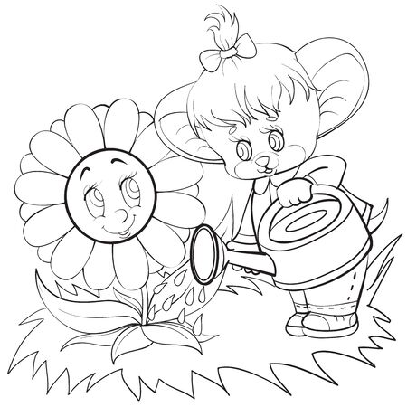 sketch of a character a mouse with a bow on his head watering a larger flower that she is grateful to, coloring, isolated object on a white background, vector illustration,