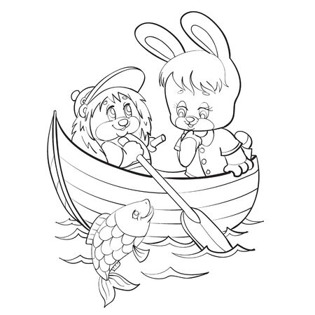 sketch of a bunny character floating with a hedgehog along the river in which a fish splashes, coloring, isolated object on a white background, vector illustration,