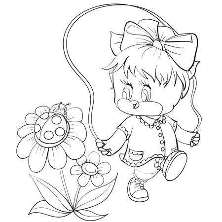 sketch of a chicken character with a bow on his head jumps over a rope and a bug sits on a flower and watches it, coloring, isolated object on a white background, vector illustration,