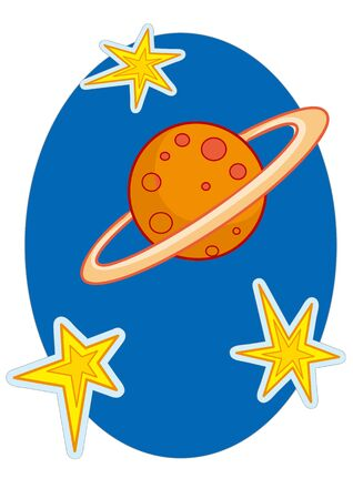 illustration for cartoon, space planet and stars, isolated object on white background, vector illustration, eps Vectores