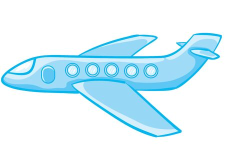 cartoon illustration, blue airplane, isolated object on a white background, vector illustration, eps