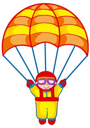 cartoon illustration, parachutist flies with parachute open, isolated object on a white background, vector illustration, EPS