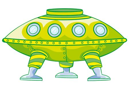 cartoon illustration, green flying saucer, isolated object on a white background, vector illustration, eps Vectores