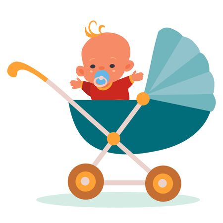 baby in red overalls and with a blue pacifier in his mouth sits in a blue stroller, isolatedobject on a white background, vector illustration, Vectores