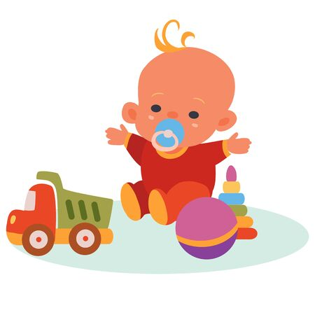 baby in red overalls and a blue pacifier in his mouth sits among toys, machine, ball, pyramid, isolated object on a white background, vector illustration,