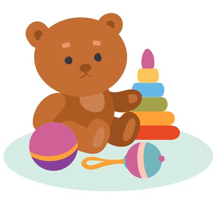 set of toys from a bear, a pyramid, a rattle and a ball, isolated object on a white background, vector illustration,