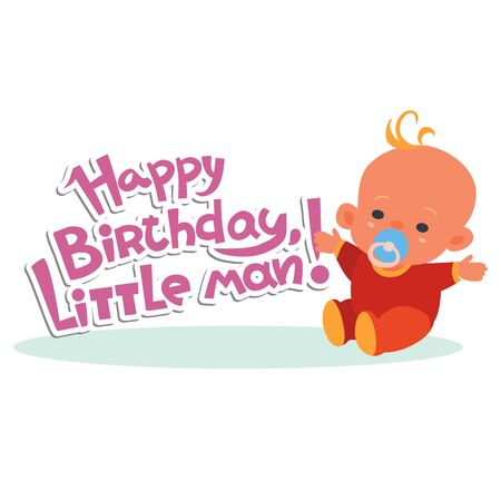 birthday greetings, lettering and baby in red overalls, isolated object on a white background, vector illustration,