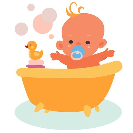 happy baby bathes in a bath with a yellow rubber duck, isolated object on a white background, vector illustration,