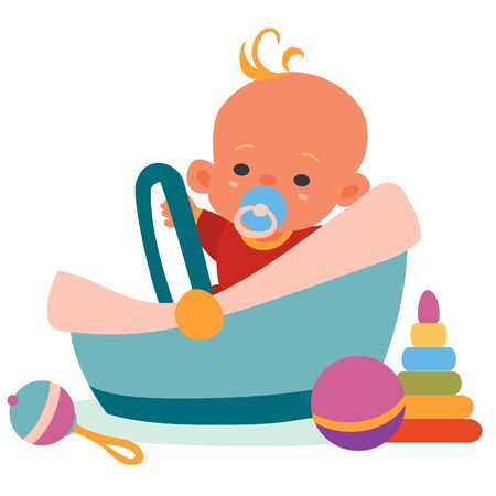 the child sits in a carrier, toys lie around, a rattle, a pyramid, a ball, an isolated object on a white background, vector illustration, Vectores