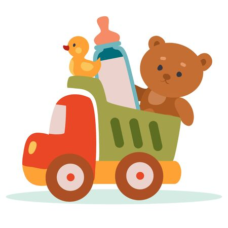 toy truck loaded with other toys, and a bottle of milk, isolated object on a white background, vector illustration,