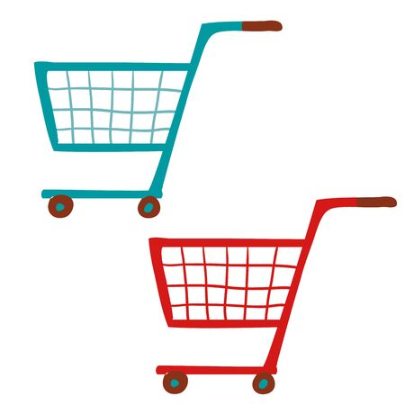 set of two empty food trolleys, blue, red, isolated object on a white background, vector illustration,