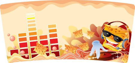 illustration with cracker character and music, vector illustration, eps Vectores