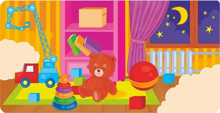 childrens room with toys and a bed outside the window night and the month shines, vector illustration, eps