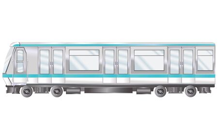 subway engine carriage, isolated object on white background, vector illustration, eps Vectores