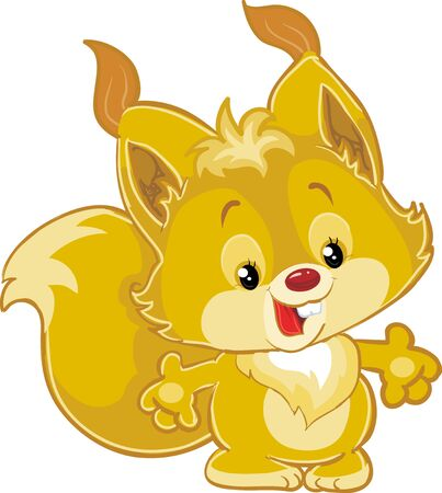cute brown squirrel character, isolated object on white background, vector illustration, eps