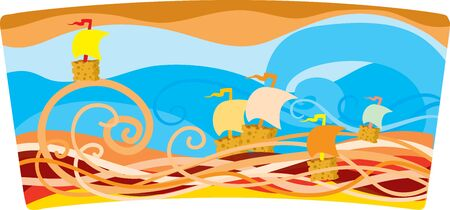 illustration with sea and ships, vector illustration, eps Vectores